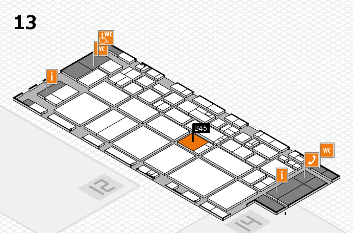 EuroShop 2017 hall map (Hall 13): stand B45