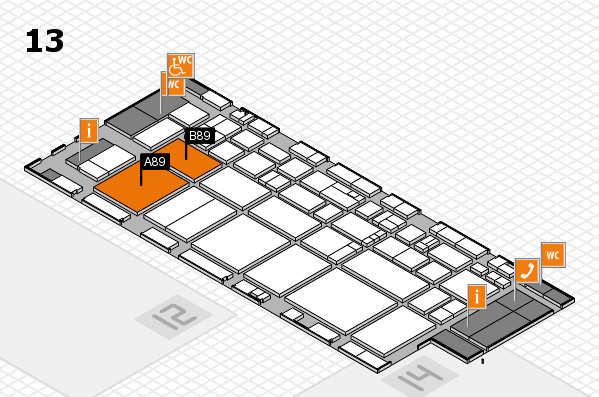 EuroShop 2017 hall map (Hall 13): stand A89, stand B89