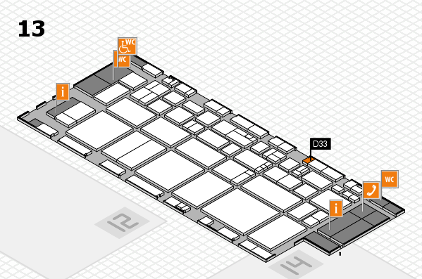 EuroShop 2017 hall map (Hall 13): stand D33