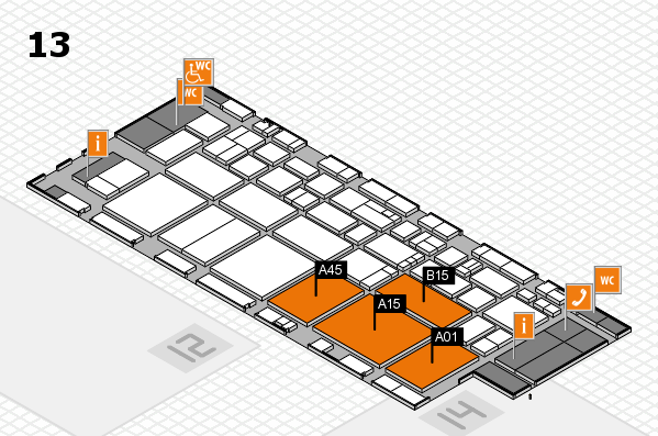 EuroShop 2017 hall map (Hall 13): stand A01, stand B15