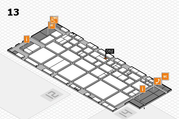 EuroShop 2017 hall map (Hall 13): stand D52