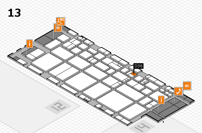 EuroShop 2017 hall map (Hall 13): stand D36