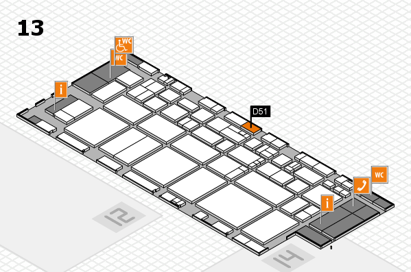 EuroShop 2017 hall map (Hall 13): stand D51