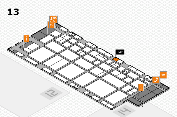 EuroShop 2017 hall map (Hall 13): stand D45