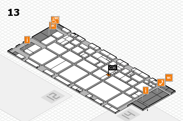 EuroShop 2017 hall map (Hall 13): stand C36
