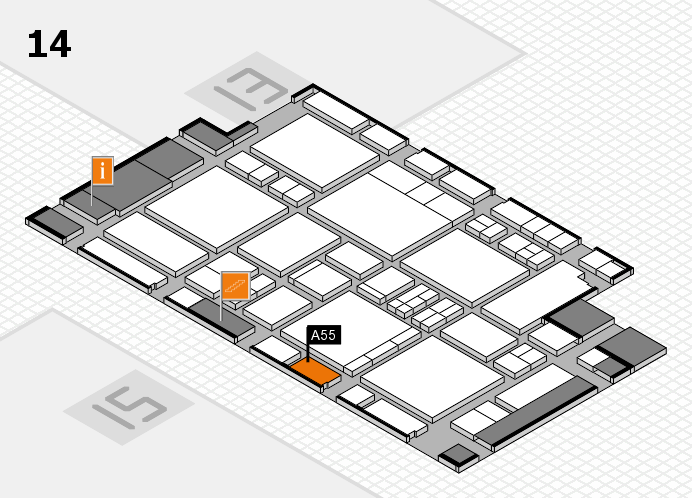 EuroShop 2017 hall map (Hall 14): stand A55