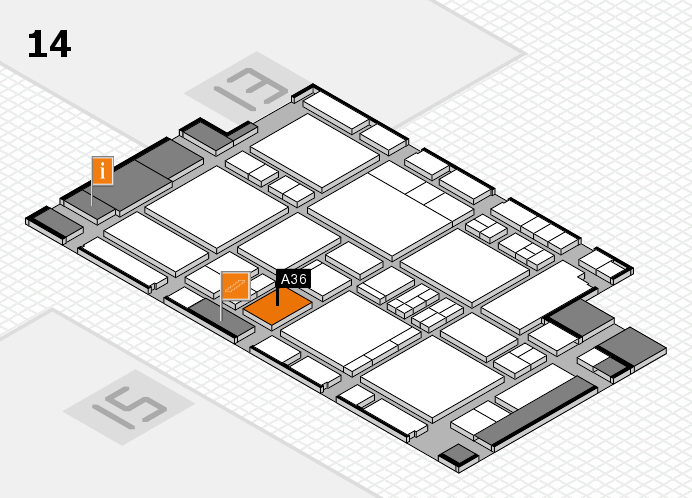 EuroShop 2017 hall map (Hall 14): stand A36
