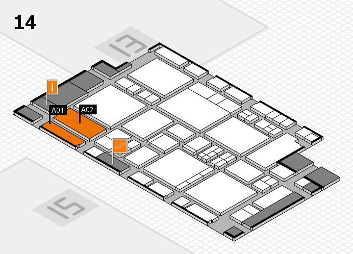 EuroShop 2017 hall map (Hall 14): stand A01, stand A02