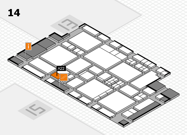 EuroShop 2017 hall map (Hall 14): stand A22
