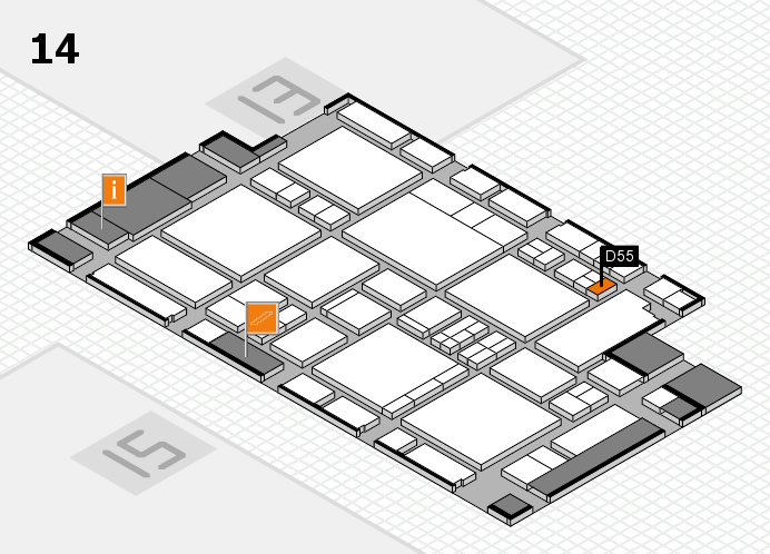 EuroShop 2017 hall map (Hall 14): stand D55