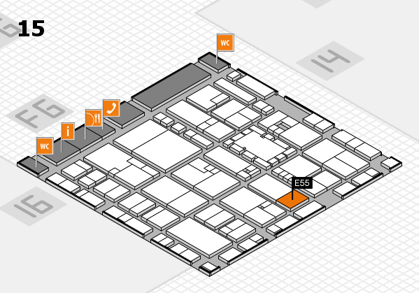 EuroShop 2017 hall map (Hall 15): stand E55