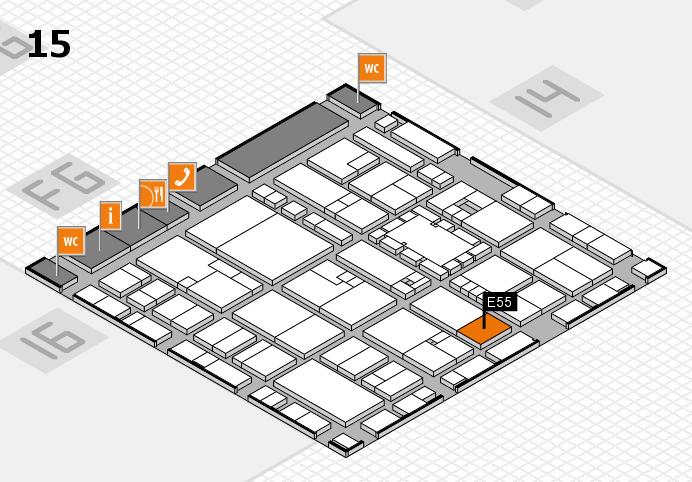 EuroShop 2017 hall map (Hall 15): stand E55