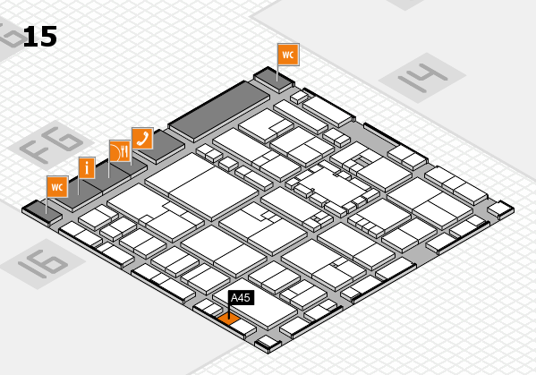 EuroShop 2017 hall map (Hall 15): stand A45