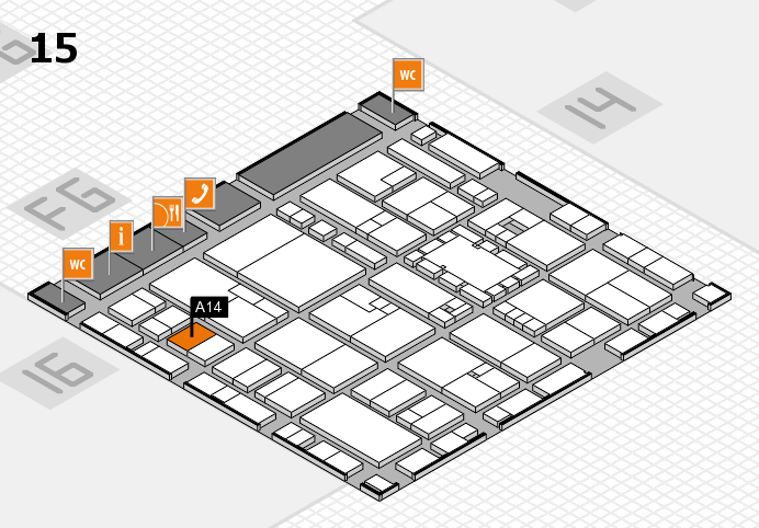 EuroShop 2017 hall map (Hall 15): stand A14