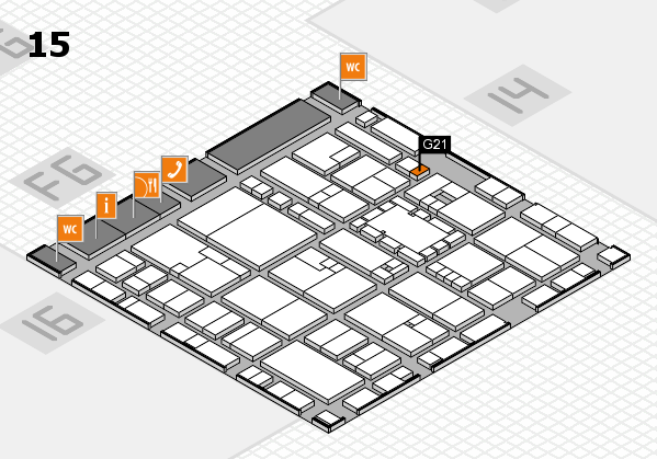 EuroShop 2017 hall map (Hall 15): stand G21