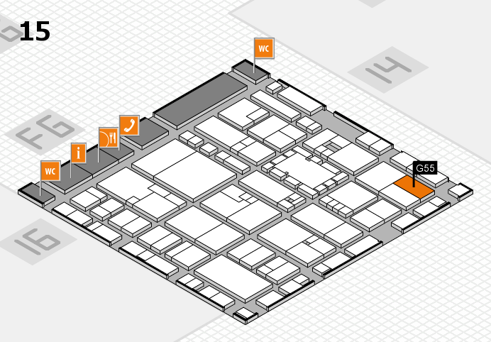 EuroShop 2017 hall map (Hall 15): stand G55