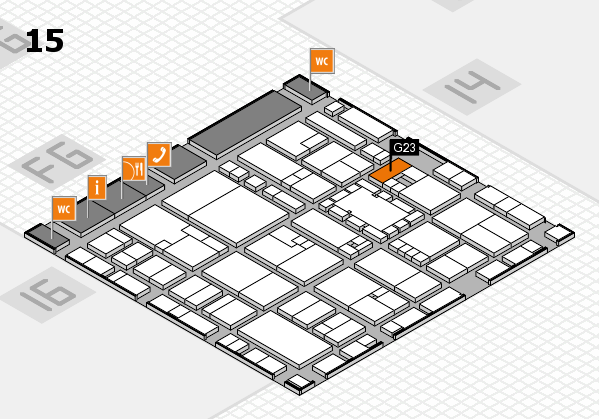 EuroShop 2017 hall map (Hall 15): stand G23
