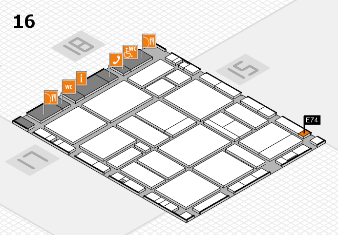 EuroShop 2017 hall map (Hall 16): stand E74