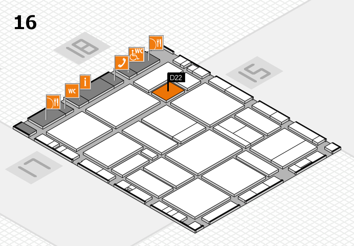 EuroShop 2017 hall map (Hall 16): stand D22