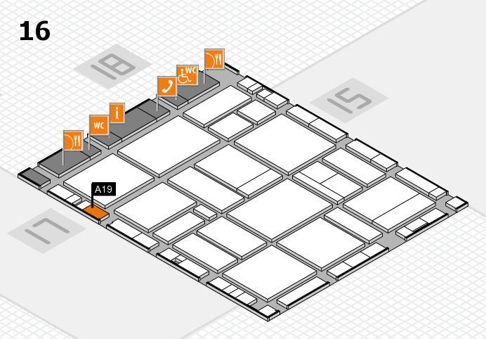 EuroShop 2017 hall map (Hall 16): stand A19