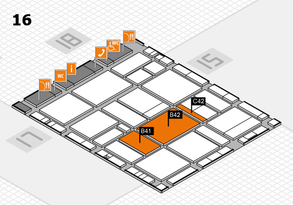 EuroShop 2017 hall map (Hall 16): stand B41, stand C42