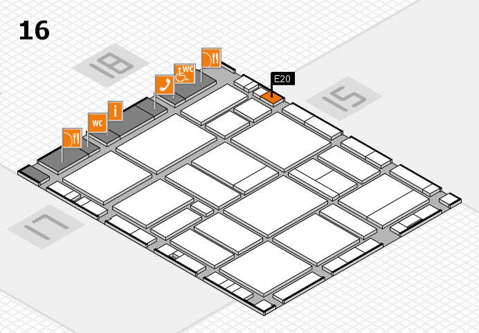 EuroShop 2017 hall map (Hall 16): stand E20