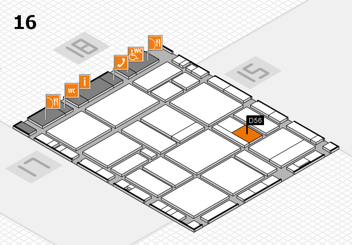 EuroShop 2017 hall map (Hall 16): stand D56