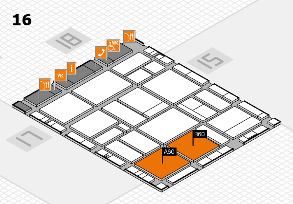 EuroShop 2017 hall map (Hall 16): stand A60, stand B60