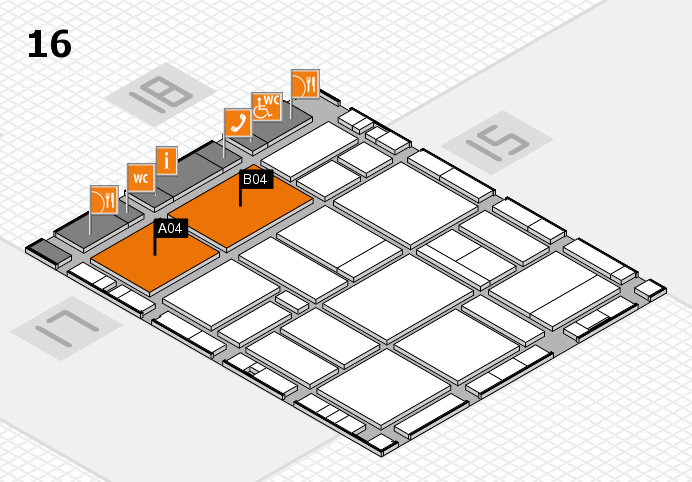 EuroShop 2017 hall map (Hall 16): stand A04, stand B04
