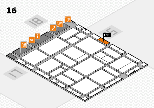 EuroShop 2017 hall map (Hall 16): stand E38