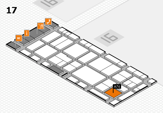 EuroShop 2017 hall map (Hall 17): stand A74