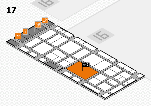 EuroShop 2017 hall map (Hall 17): stand A42