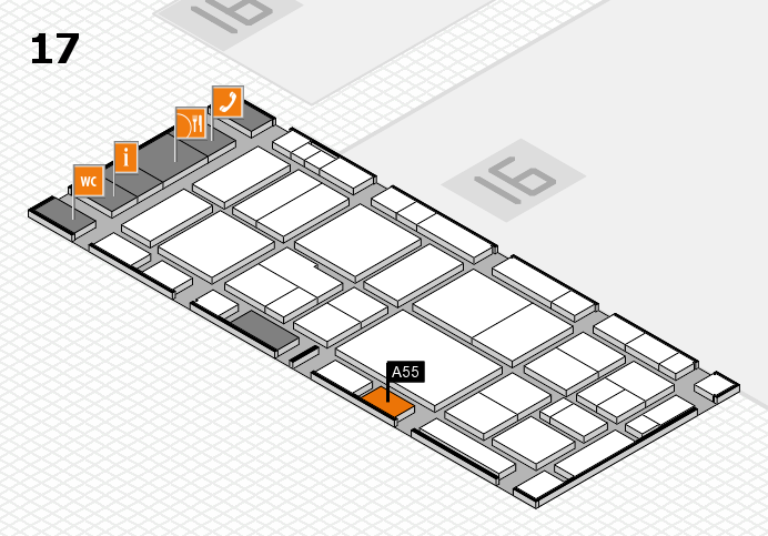 EuroShop 2017 hall map (Hall 17): stand A55