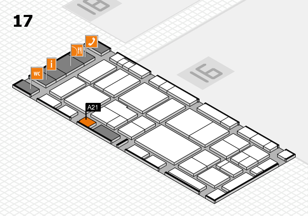 EuroShop 2017 hall map (Hall 17): stand A21