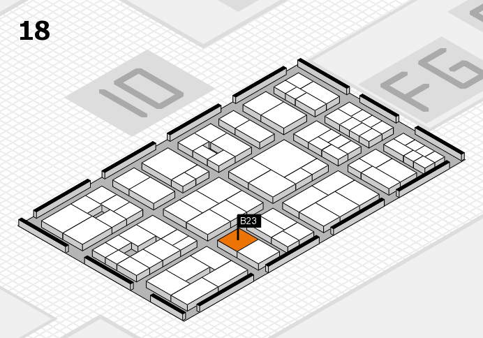 EuroShop 2017 hall map (Hall 18): stand B23