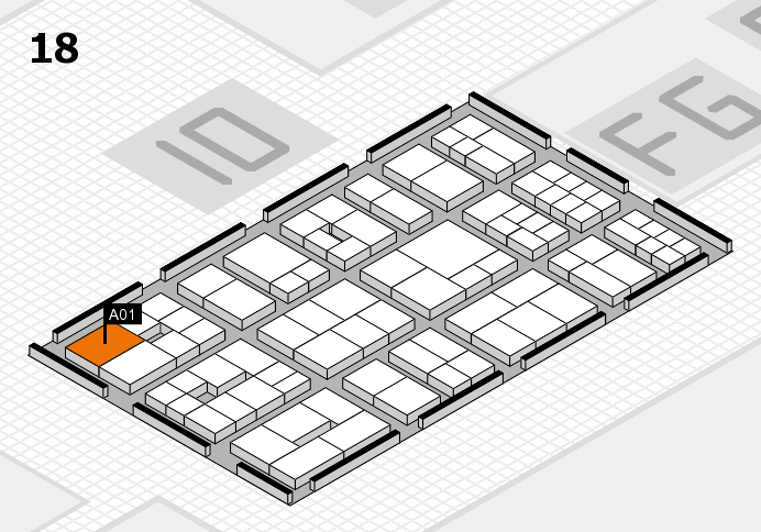 EuroShop 2017 hall map (Hall 18): stand A01