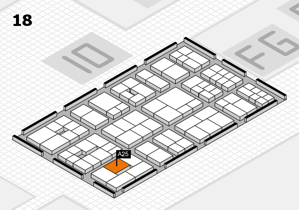 EuroShop 2017 hall map (Hall 18): stand A25
