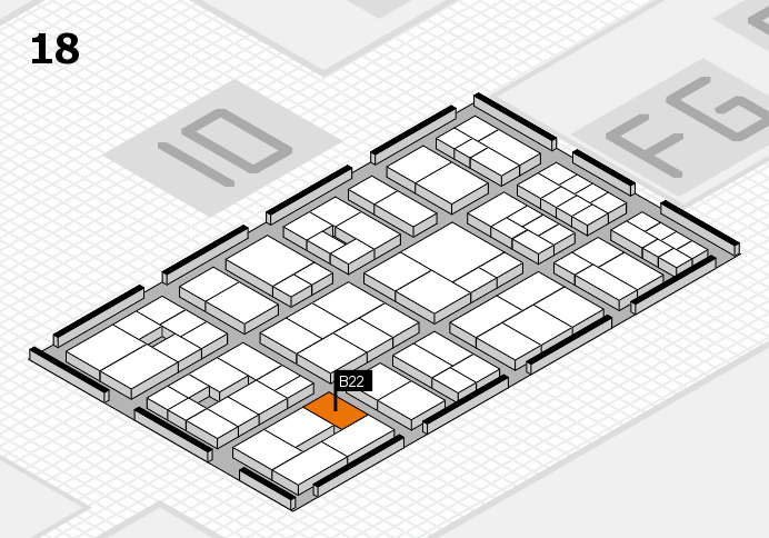 EuroShop 2017 hall map (Hall 18): stand B22