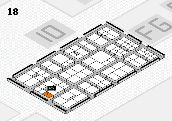 EuroShop 2017 hall map (Hall 18): stand A19