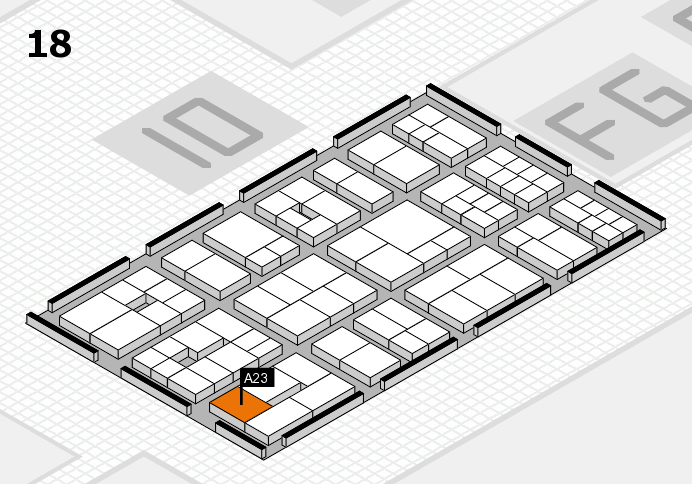EuroShop 2017 hall map (Hall 18): stand A23