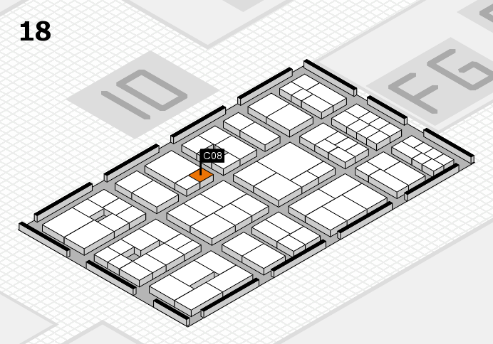 EuroShop 2017 hall map (Hall 18): stand C08