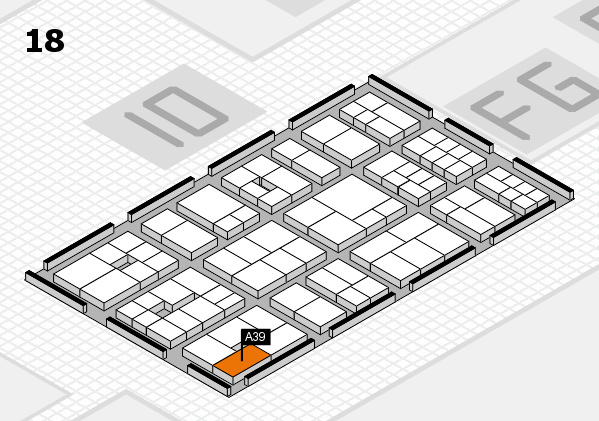 EuroShop 2017 hall map (Hall 18): stand A39