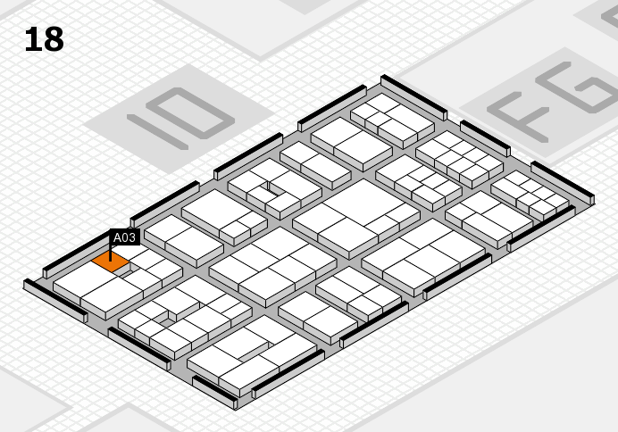 EuroShop 2017 hall map (Hall 18): stand A03