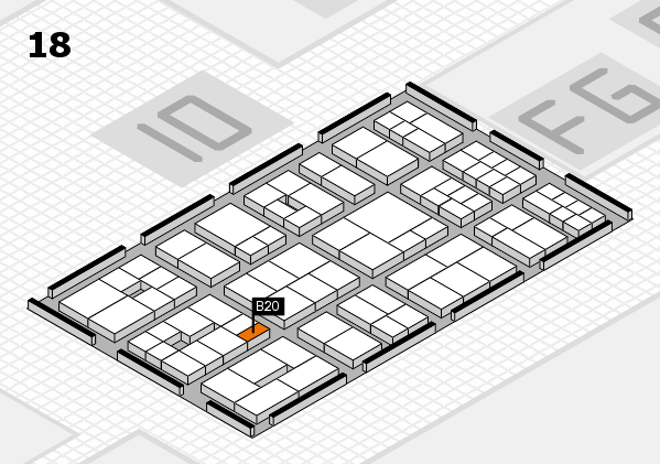 EuroShop 2017 hall map (Hall 18): stand B20