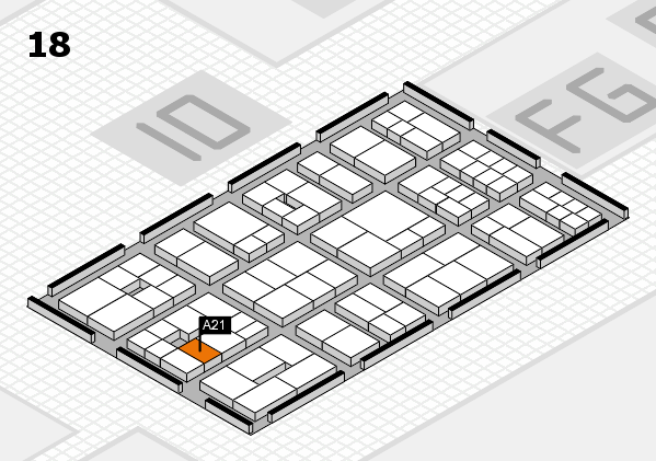 EuroShop 2017 hall map (Hall 18): stand A21