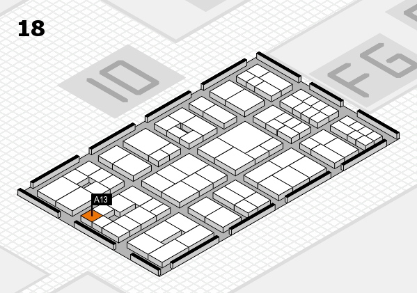 EuroShop 2017 hall map (Hall 18): stand A13