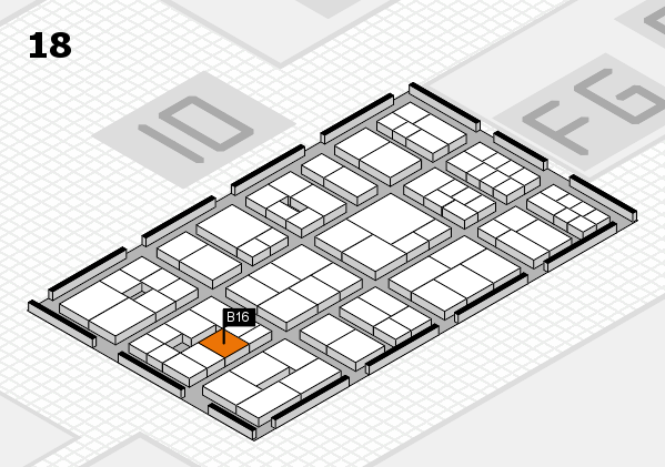 EuroShop 2017 hall map (Hall 18): stand B16