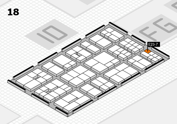 EuroShop 2017 hall map (Hall 18): stand E23-7