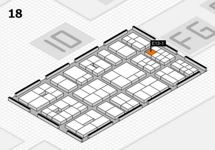 EuroShop 2017 hall map (Hall 18): stand E13-1