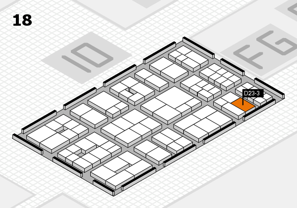 EuroShop 2017 hall map (Hall 18): stand D23-3